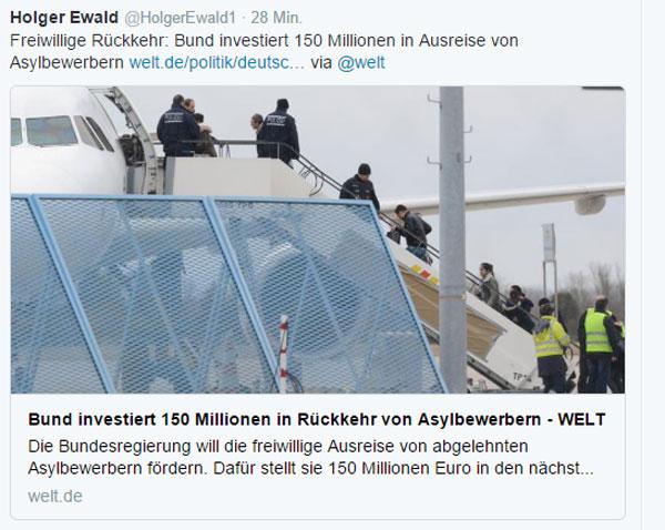 150 Millionen EUR für freiwillig ausreisende Asylbewerber. Das Merkel-Regime haut wieder einmal gnadenlos unser Geld raus, um sich selbst aus dem Dreck zu ziehen, den deren Politik mit dem Asylchaos 2015 angerichtet hat. #Date:12.2016#