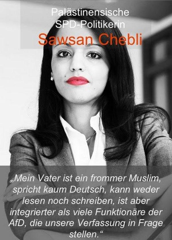 Stellt sich die Frage, wer hier das Grundgesetz in Frage stellt. Sawsan Chebli, SPD-Politikerin mit palästinensischen Wurzeln, die sich zuerst als Dummsprech und Nichtswisser in der Bundespressekonferenz blamiert hat und nun Staatssekretärin bei Rot-Rot-Grün in Berlin ist. #Date:12.2016#