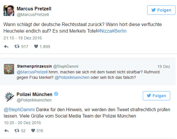 Marcus Pretzell, prominenter AfD-Politiker, spricht aus, was spätestens nach der Weihnachtsmarkt-Attacke in Berlin Sache ist. Sternenprinzessin mag das nicht und treibt die Münchner Polizei zu Höchstleistungen. #Date:12.2016#