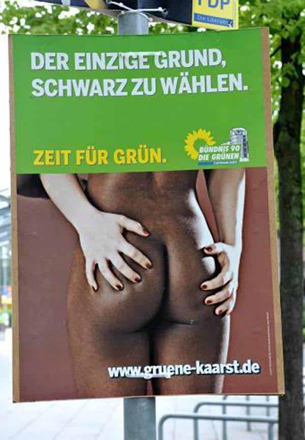 Werbeplakat der Grünen. Negerin-Arschbacken #Date:12.2015#