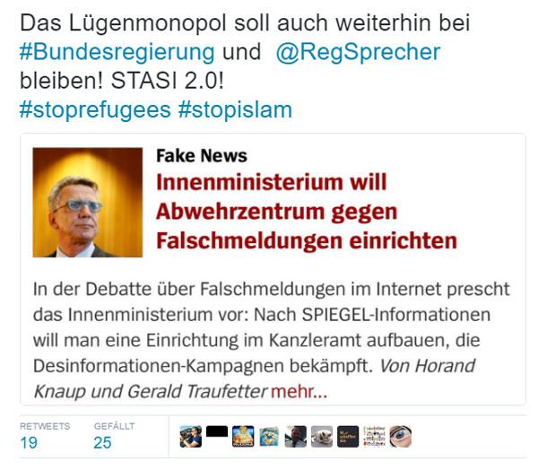 Das Lügenmonopol soll weiterhin bei der  Bundesregierung und dem Regierungssprecher bleiben. Stasi 2.0 #Date:12.2016#