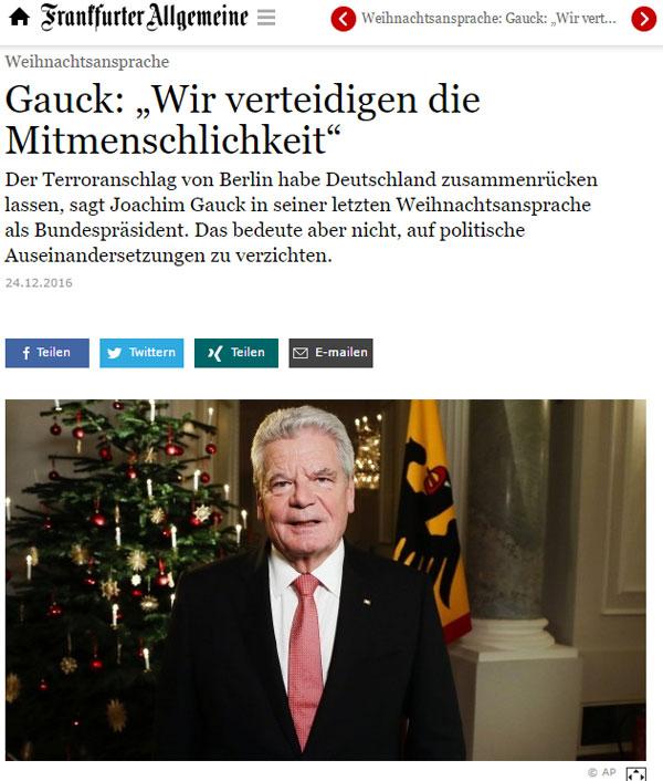 Bild zum Thema Die Weihnachtsansprache von Bundespräsident Gauck. Was er da rumnuschelt ist egal. Hauptsache, es ist seine letzte Weihnachtsansprache als Bundespräser.