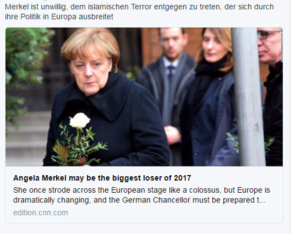 Bild zum Thema No, CNN. You are wrong. Angela Merkel? W I L L be the biggest loser in 2017.