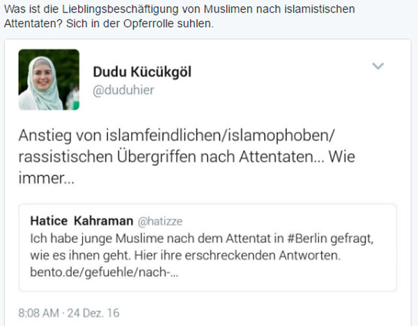 Bild zum Thema Was ist die Lieblingsbeschäftigung von Muslimen nach islamistischen Attentaten? Sich in der Opferrolle suhlen.