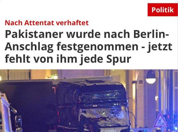 Pakistaner wurde nach Berlin-Anschlag festgenommen. Jetzt fehlt von ihm jede Spur. Bananenrepublik. #Date:12.2016#