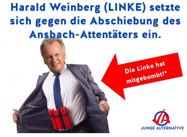Der Bundestagsabgeordnete von DIE LINKE  für den Wahlkreis Ansbach, Harald Weinberg, setzte sich dafür ein, dass der Ansbach Attentäter nicht abgeschoben wird. #Date:12.2016#