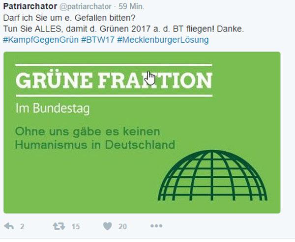 Bitte tun Sie alles, damit die Grünen 2017 aus dem Bundestag fliegen #Date:12.2016#