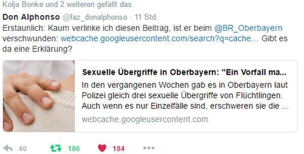 Seltsam. Kaum verlinkt, ist der Beitrag des Bayerischen Rundfunks auch schon verschwunden. Aber dank des Google-Cache weiter aufrufbar. #Date:12.2016#