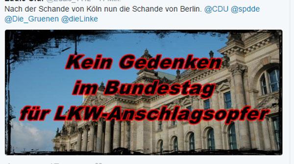 Nach der Schande der Kölner Silvesternacht, nun die Schande von Berlin. Kein Gedenken an die Opfer des #TruckJihad auf den Berliner Weihnachtsmarkt am Breitscheidplatz. Gut eine Woche nach dem Attentat liegen noch immer 20 Personen in Kran kenhäusern, 11 davon auf Intensivstationen. 14 Menschen sind bisher in diesem Zusammenhang verstorben. #Date:12.2016#