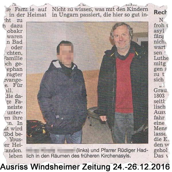 Auch in Bad Windsheim trampeln Gutmenschen auf dem Rechtsstaat herum .  Die Windsheimer Zeitung berichtet in der Ausgabe vom 24./26.12.2016 über ein mehrwöchiges Kirchenasyl im Lutherhaus.   Wieder einmal haben sich Hypermoralisten aufgeschwungen, Schicksal zu spielen.   Sie gauckeln sich und der Gesellschaft vor, dass sie in der Lage sind, aus der Menge der Fälle diejenigen herauszufiltern, die das BAMF möglicherweise nicht richtig einzustufen vermag. Wobei hierbei selbstverständlich die eigenen Fantastereien und nicht die Realitäten ausschlaggebend sind.   Aus dem in dem o.a. Zeitungsartikel dargelegten Fakten erschließt sich nicht, wo hier der Härtefall sein soll.   Bereits die Abwägung der Gefahren des Herkunftsortes mit den Risiken der Schleusung einer Hochschwangeren und dreier Kinder über das EU-Land Ungarn hinaus bis nach Deutschland fällt negativ aus.   Es ist einfach immer wieder erschütternd mit welcher ideologisch-verbrämten Selbstüberschätzung sich hier Leute als Amateur-Weltretter aufspielen und versuchen, der Gesellschaft ihren Stempel aufzudrücken. ?   https://youtu.be/07cAiKheMqk #Date:12.2016#