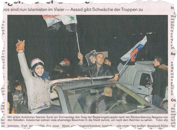 Bild zum Thema Siegesfeier ohne Islamisten in Aleppo durch die syrische-russische Allianz. Ganz zum Leidwesen von Merkel, Steinmeier und Obama
