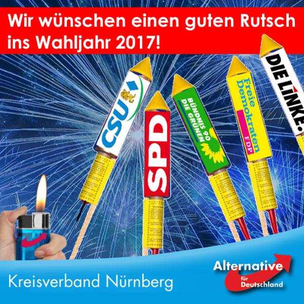Einen guten Rutsch ins Bundestagswahljahr 2017. Lasst es ein wunderbar Blaues Jahr werden, das die Altparteien zur Verzweiflung treibt. #Date:12.2016#