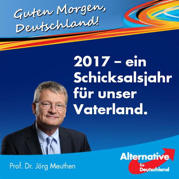 """Das Jahr 2017 hat nun begonnen. Es wird ein Schicksalsjahr in der deutschen Geschichte werden.  Im Kern geht es um die Frage, ob wir Deutschen es weiter zulassen, dass eine vollkommen aus den Fugen geratene Politik des Irrsinns die Zukunft unseres Landes gefährdet - oder ob wir uns mit dem einzigen legitimen Mittel, das es in einer Demokratie gibt, dagegen wehren: Mit der Abwahl dieser unsäglichen Kanzlerdarstellerin und ihrer Komparsentruppe.  Frau Merkel hat uns in ihrer Neujahrsansprache - möge es die letzte sein, die wir von dieser Figur ertragen müssen - zu Optimismus geraten. Optimismus, dass die Probleme, die Merkel höchstselbst zu unser aller Lasten geschaffen hat, sich irgendwie in Wohlgefallen auflösen werden.  Das werden sie aber nicht tun. Weder werden die schwerwiegenden Folgen der völlig verfehlten, den deutschen Wohlstand gefährdenden Euro-""""Rettungs""""-Politik an uns vorübergehen, noch werden die katastrophalen Auswirkungen des von Frau Merkel zu verantwortenden Kontrollverlustes an der deutschen Grenze geringer werden.  Im Gegenteil - sie werden jeden Tag größer. Nach wie vor darf jeder in unser Land, der das Wort """"Asyl"""" aussprechen kann. Papiere: Nicht erforderlich. Und zu allem Überfluss droht nun bald auch noch der völlig unkalkulierbare Familiennachzug der bisherigen Merkel-Flut.   Das alles kann kein Staat der Welt verkraften, ohne selbst schweren Schaden zu nehmen. Deshalb muss dieser Wahnsinn ein schnelles Ende haben.  Dafür stehen wir, die Alternative für Deutschland. Wir sind die Partei des gesunden Menschenverstandes, der von den Kartellparteien so fürchterlich mit Füßen getreten wird. Verhelfen wir ihm im neuen Jahr alle gemeinsam zu neuer Blüte!  In diesem Sinne wünsche ich Ihnen allen ein glückliches, gesundes und erfolgreiches neues Jahr, in dem wir die """"Herrschaft des Unrechts"""" (O-Ton Seehofer zu der von ihm als CSU-Chef mitverantworteten Regierungspolitik!) endlich beenden. Zeit für Veränderung - Zeit für die AfD. #Date:01.2017#"""