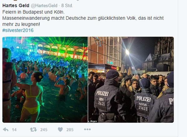 Silvester 2016/2017 in Budapest und Köln. Kein Zweifel, die Masseneinwanderung macht Deutschland zum glücklichsten Volk auf Erden. Dank Merkel. #Date:01.2017#