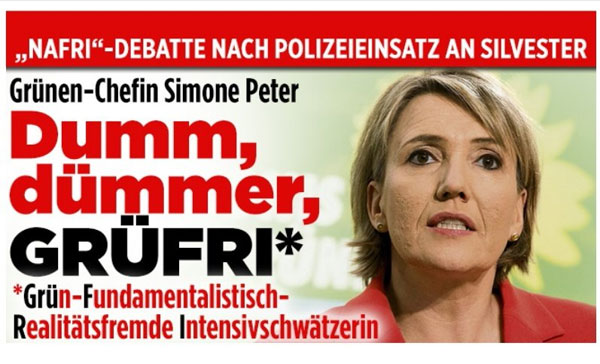 Bild zum Thema Nafri-Debatte nach Polizeieinsatz in Köln zu Silvester 2016. Grünen-Chefin Simone Peter: dumm, dümmer, Grüfri (GRÜn-Fundamentalistisch-Realitiätsfremde-Intensivschwätzerin)