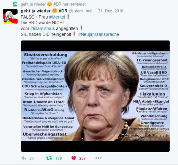 Bild zum Thema Falsch, Frau Merkel   Was der wirre Geist unserer Kanzlerdarstellerin Merkel bei der Neujahrsansprache so alles verwechselt hat.