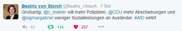 Bild zum Thema Na, prima. Die FDP will mehr Polizei, die  CDU mehr Abschiebungen und die SPD weniger Sozialleistungen für Ausländer. AfD wirkt.