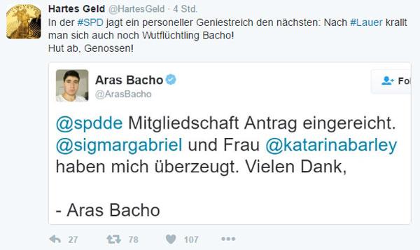 Bei der SPD jagt ein personeller Geniestreich den anderen. Neben dem Denunzianten Lauer von den Piraten jetzt auch noch Wutflüchtling Bacho. #Date:01.2017#