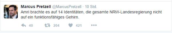 Neues aus rot-grün Nordrhein-Westfalen: Anis Amri brachte es auf 14 Indentitäten #Date:01.2017#