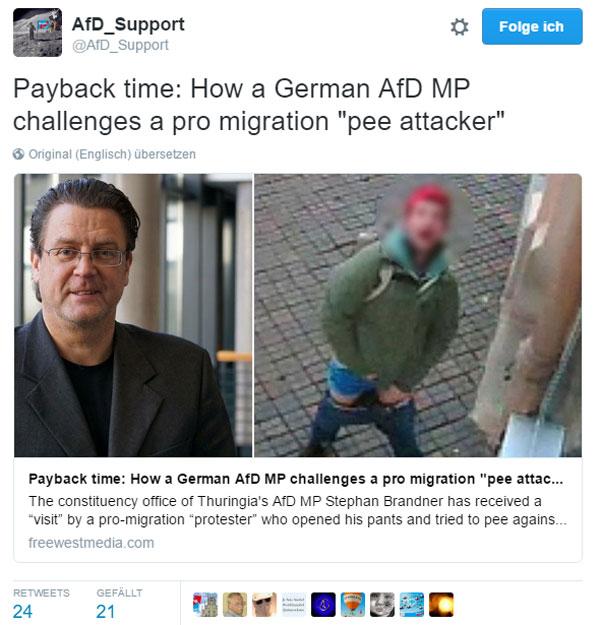 Bild zum Thema Räudiges versifftes Bürschchen attackiert AfD-Geschäftsstelle mit Pisse.
