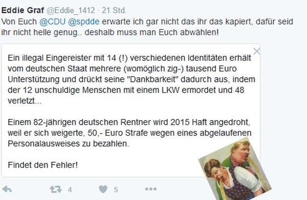 Bild zum Thema Illegal eingereister Terrorist mit 14 Identitäten begeht in Deutschland Massenmord und Rentner wird wegen 50.-Euro Strafe angedroht.