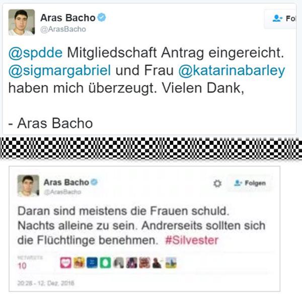 Bild zum Thema Der als Wutflüchtling bekannt gewordene Aras Bacho, ist jetzt in die SPD eingetreten. Prima, da gehört er hin.