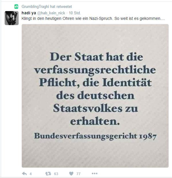 Bild zum Thema Der Staat hat die verfassungsrechtliche Pflicht, die Identität des deutschen Staatsvolkes zu erhalten. Bundesverfassungsgericht 1987. Klingt heute wie ein Nazispruch.