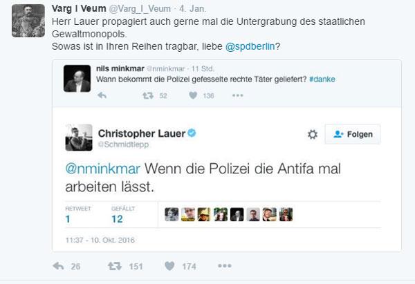 Bild zum Thema Von der SPD eingefangener vormaliger Piraten-Politiker Lauer legt offen, dass die Antifa der militänte Arm der SPD ist.