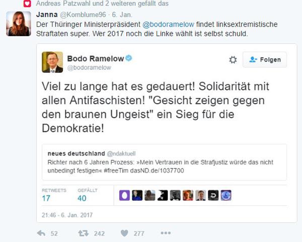 Bild zum Thema Der Thüringer Ministerpräsident Bodo Ramelow von DIE LINKE findet linksextremistische Straftaten super.