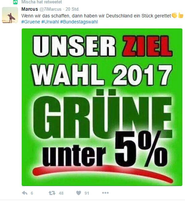Bild zum Thema Wahlziel 2017 #btw17: Grüne unter 5% und Deutschland ist ein bisschen gerettet.