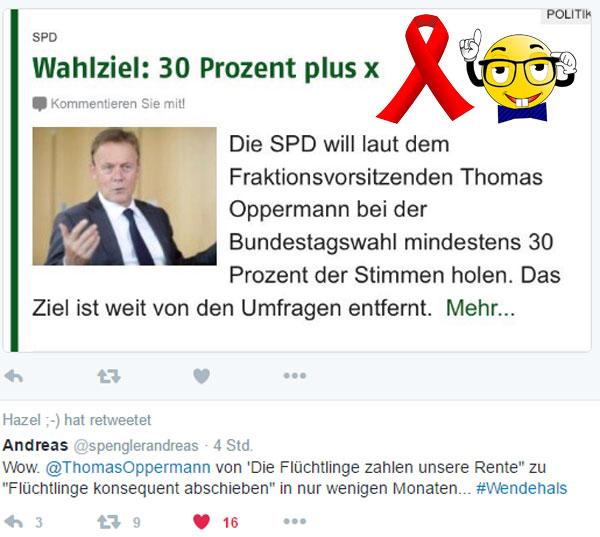 Thomas Oppermann, Fraktionsvorsitzender der SPD im Bundestag und Edathy-Vorbelasteter möche 30+ % bei der Bundestagswahl 2017 für die SPD. Die wird der Wendehals sicher NICHT kriegen. #Date:01.2017#