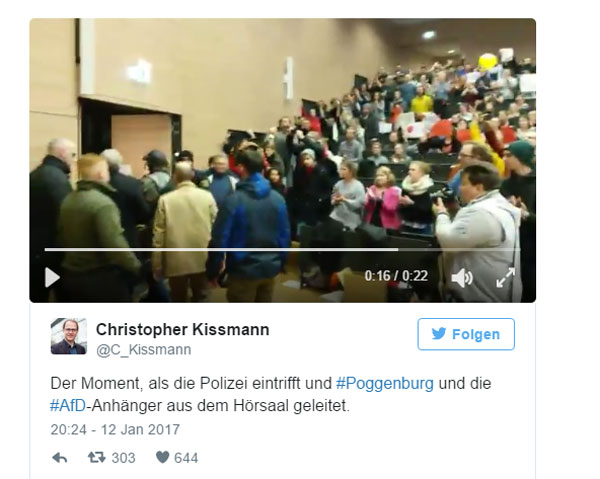 Linksbuntversiffter Studenten-Mob und Antifa an Uni Magdeburg.  André Poggenburg, Landeschef der AfD in Sachsen-Anhalt, musste von 30 Polizisten vor einem durch Antifan verstärkten linken Studenten-Mob aus einem Hörsaal in Sicherheit gebracht werden.   Unter anderem wurde auch ein Böller auf Poggenburg geworfen, der neben diesem explodierte.   9 Monate vor der Bundestagswahl #btw17 ist es in Deutschland nicht mehr möglich, ohne Gefahr für Leib und Leben, seine Meinung zu äußern.   Ich lasse mir das nicht mehr gefallen! Und DU? #Date:01.2017#