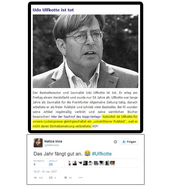 """Der ehemalige FAZ-Journalist und später freiberufliche kritische Journalist Udo Ulfkotte ist tot. Er verstarb am Freitag an einem Herzinfarkt.   Von der Lückenpresse und den Mietmedien wurde Ulfkotte stets als """"umstrittener Publizist"""" bezeichnet, weil ihn weder Political Correctness noch Mainstream-Medien-Volksverdummung interessierte.   Zum Tode von Ulfkotte erlaubte sich die türkisch-stämmige Journalistin Hatice Ince eine Freudentränen auf Twitter. Ince lebt in Deutschland, weil sie sich nicht getraut, ihren Hintern in die Türkei zu schieben.   Kann eine Gesellschaft dekadenter sein? Never.  #Date:01.2017#"""