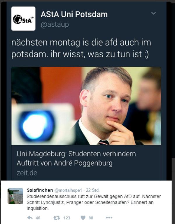 Wird jetzt AfD an der Uni Potsdam gelyncht?   Nach den gewalttätigen Tumulten bei einem Auftritt von André Poggenburg an der Uni Magdeburg, ruft nun der Asta der Uni Potsdam hinterhältig zu einer selbst festgelegten Interpretation der Meinungsfreiheit auf. Dreist.  #Date:01.2017#