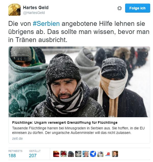 Es sei der dringende Wunsch nach Europa zu gelangen   An der ungarisch-serbischen Grenze gibt es mal wieder was für die Tränendrüse der Gutmenschen. Tausende Personen, die sich als Flüchtlinge bezeichnen, möchten gerne nach Europa. Und es ist Winter und es ist kalt. Also lasst sie halt, wir warten schon sehnsüchtig auf sie, um unser stylisches Helfer-Syndrom auf Kosten der Gesellschaft befriedigen zu können.   Ungarn sagt: NEIN, und verweist darauf, dass die Migranten jederzeit in Serbien aufgenommen und versorgt würden, wenn sie denn wollten. Doch das wollen die geplagten und traumatisierten Leute nicht, sie haben höhere Ziele. Sie wollen nach Europa.   Und natürlich beschreiben Hilfsorganisationen die Situation als dramatisch und Ärzte ohne Grenzen ... ach komm, lassen wir das. #Date:01.2017#
