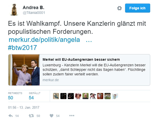Merkel will die EU-Grenzen besser sichern   Ach ja, es ist so eine Sache mit der Demenz bei Bloody-Mama Refugee-Merkel.   Zuerst hat sie uns erklärt, dass eine Grenzsicherung in Deutschland nicht möglich ist, jetzt will sie das Ganze europaweit durchziehen. Am besten mit Wasserspritzpistolen für die Grenzer.   Die Frau ist so hohl wie der Eiffelturm hoch.   Natürlich kann es sein, dass sie sich von ihren Freunden in Saudi-Arabien hat inspirieren lassen, wo deutsche Firmen eine riesige Grenzbefestigung bauen und gleich noch ein paar Polizisten involviert sind. https://youtu.be/evwILadMeHc ab 20:25   Vergessen wir nicht, jede im Nachgang zum Asylchaos ins Auge gefasste Maßnahme kann das Geschehene nicht mehr gut machen und den Schaden nicht mehr ungeschehen machen.  #Date:01.2017#