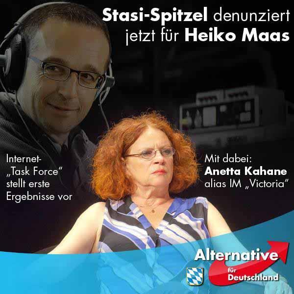 Stasi-Spitzel IM-Victoria Anetta Kahane in Zusammenarbeit mit Bundesjustizminister Heiko Mittelmaas als Internet-Spitzel #Date:12.2015#
