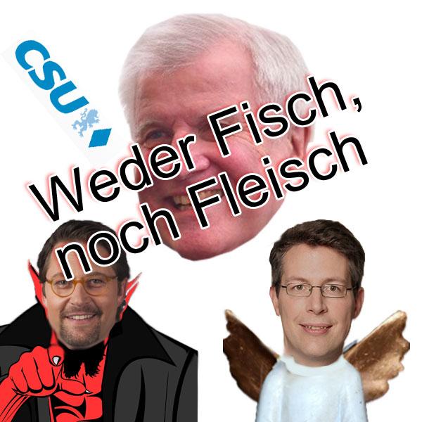 Bild zum Thema CSU-Seehofer wird für den Machterhalt ALLES tun  Jetzt im Wahljahr zum Bundestag zieht Seehofer den Schwanz immer mehr ein und kuschelt mit Rautenfrau Flüchtlingskanzlerin Merkel um die Wette.  Keine Angst, der Bürger hat dieses böser Bube CSU, braver Bube CDU schon lange als Wahlkampfmanöver durchschaut.  Hierzu passt auch die Berufung eines stellvertretenden Generalsekretärs. Der Landtagsabgeordnete Markus Blume soll neben Andreas Scheuer nun in die Geschicke der Partei eingreifen.  Dabei kommt Scheuer, der für den Bundestagswahlkampf zuständig sein soll, offenbar die Rolle des bösen Buben zu, der über Härte in der Flüchtlingsdiskussion den Wähleranteil mobilisieren soll, den die CDU nicht mehr direkt mit der Flüchtlingskanzlerin erreicht.  Blume soll den Ball in der CSU selbst flach halten. Nachdem es bereits zu kritischen Äußerungen innerhalb der Partei wegen des harschen Auftretens von Scheuer gekommen war, sollen die CSU-Mitglieder durch Blume im üblichen Stil angesprochen und mit der CSU-Politik sanft versöhnt werden.  Das ganze Theater um Gesetzesverschärfungen, mehr Polizei, Nachrichtendienste, Bürgerüberwachung - welches uns Bad-Mama-Merkel eingebrockt hat - soll in Vergessenheit bringen, dass wir diese Probleme nicht, oder doch in einem unglaublich geringeren Ausmaß hätten, wenn diese Bundesregierung - und damit auch die CSU - Deutschland nicht den Wölfen zum Fraß vorgeworfen hätte. :v