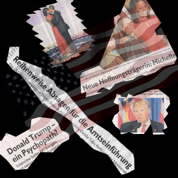 Die spinnen, die Amis  Wenn man sich von Europa aus ansieht, was in den Staaten mit der Wahl Trumps und dem Abschied von Obama abgeht, ist man geneigt, an eine Hippie-Kolonie zu denken.  Trump, der von den Mainstream-Medien unentwegt gebasht wird, die Obamas, die eine Seifenoper nach der anderen inszenieren.  Doch halt, kommt uns das nicht bekannt vor?  Ein dominantes Gesinnungsmonopol von Gut- und Bessermenschen okkupiert die Meinungs- und Deutungshoheit im Land und platziert sich mit seinem ideologischen Hintern auf der Masse der schweigenden Mehrheit?   Ja, ja, richtig. Es sind Zustände wie im eigenen Land, wie bei uns im Jahr 1 nach der Einführung des Rechtsstaats nach Merkel-Geschmack.  Was die Amis betrifft, so hat den Trump-Bashern  die Washington Times die Leviten gelesen: die sich gerne links gerierende Hollywood-Schickeria habe wohl noch nicht den Ausgang der Präsidenten-Wahl begriffen. Und: die breite Öffentlichkeit interessiere die Meinung von liberalen Berühmtheiten nicht. :v     #Date:01.2017#