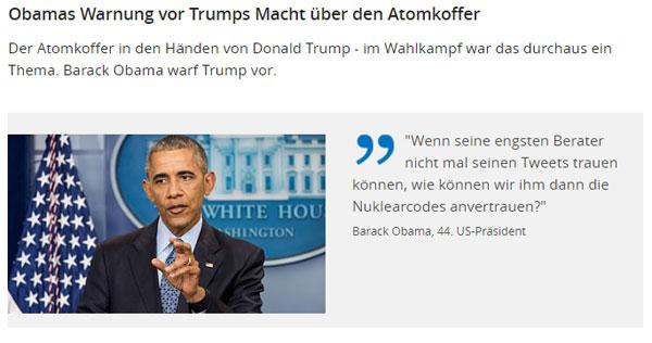 """Barrack Hussein Obama geh"""" mit Michelle spielen   Es wird Zeit, dass dieses Seifenoper-Rumgekaspere von Obama und seiner First Lady endlich, endlich ein Ende findet.   Der kleine Rechtsanwalt Obama geriert sich als der Nabel der Welt, als des Pudels Kern und hat sich jahrelang von Außenministerin Hillary Clinton auf der Nase rumtanzen lassen.   Geh"""" mit Gott, aber geh"""". Disgusting. :v   http://www.br.de/nachrichten/trump-amtsuebergabe-atomkoffer-100.html #Date:#"""