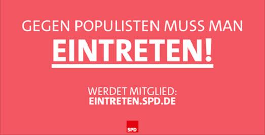 Bild zum Thema Immer wieder: hässliche Wortspielereien von der Proleten-Partei SPD.  Ja, wir wissen, dass die SPD immer wieder betonen muss, aus welchen Tiefen des Proletariats sie aufgestiegen ist (und wo sie auch bald wieder beheimatet sein wird). Könnte man als verklärenden Rückwärtsblick abtun.  Allerdings wissen wir auch, dass die SPD politische Gewalt fördert und unterstützt, in der Regel, indem sie Verbindungen zur Antifa unterhält und diese auch einsetzt.  Was so eine echter Sozi-Prolet ist, der tritt schon mal ein gegen den Populismus. v