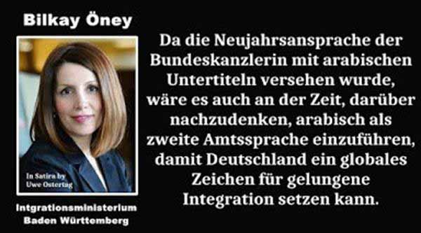 Bilkay Öney, Integrationsministerin von BW kann man eine solche Aussage zutrauen #Date:12.2015#