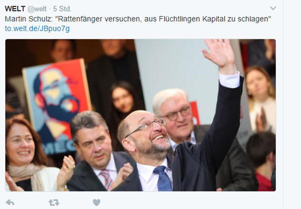 Bild zum Thema Patrioten-Horror.  Martin Schulz, Inbegriff all dessen, was mit der EU schief läuft und Verfechter eines europäischen Zentralstaates mit seinen Helfershelfern von der SPD.  EKELHAFT.