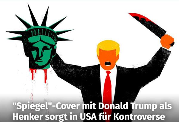 Die Deutsche Krankheit. Von Selbsthass zerfressen glaubt die deutsche Journaille, dass es ihre Aufgabe ist, die Welt, und insbesondere den Islam, vor Donald Trump retten zu müssen. Koste es, was es wolle. Dieses SPIEGEL-Cover ist so krank, wie die SPIEGEL-Redakteure, die hier um sich schlagen, weil es nicht nach ihrer linksgrün-verbrämten Ideologie geht. #Date:02.2017#