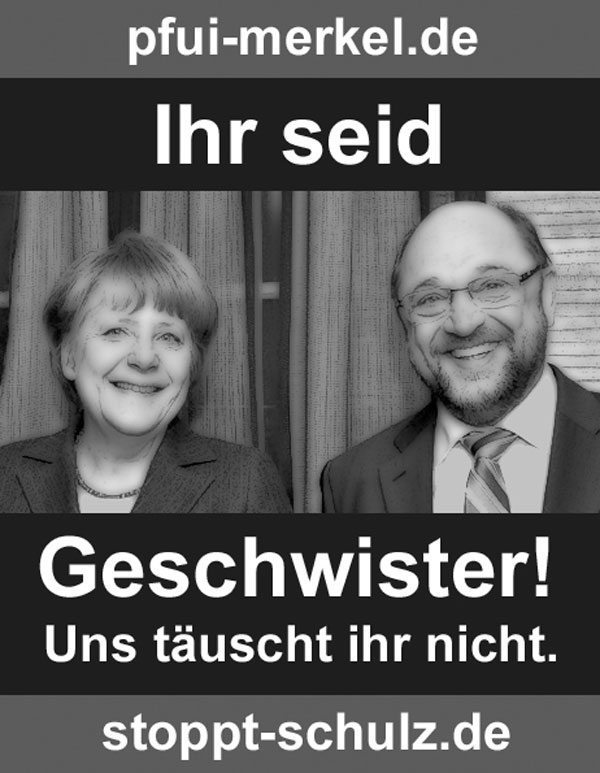 Wer geht den Medien auf den Leim? Wer geht den Medien auf den Leim und glaubt ernsthaft, dass der neue SPD-Hoffnungsträger Martin Schulz #zeitfürmaddin besser sei als Merkel, oder doch zumindest das geringere Übel? So dumm kann keiner sein. Merkel und Schulz sind Establishment-Geschwister im Herzen und im Geiste, ihre Politik ist anti-deutsch und ihre Haltung anti-patriotisch.  #Date:#