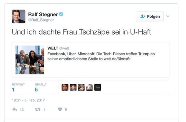 Bild zum Thema SPD Ober-Prolet Ralle Stegner haut wieder einen raus Der stellvertretende Bundesvorsitzende der SPD, Ralf Stegner, hat wieder einen rausgehauen. Der als 'Pöbel-Ralle' auf Twitter für seine Geschmacklosigkeiten bekannte Stegner kommentierte am Sonntagabend ein Foto aus einem Artikel der WELT. Darauf zu sehen, die Facebook-Chefin Sheryl Sandberg. Stegners Kommentar: 'Und ich dachte Frau Tschzäpe sei in U-Haft.' Der Vergleich der FB-Chefin mit der NSU-Angeklagten Beate Zschäpe brachte Stegner erheblichen Gegenwind ein. Der Tweet wurde darauf hin, von ihm gelöscht. Stegner ist das typische Beispiel des bildungsschwachen SPD-Proleten, der seine Absonderungen unters Volk streut in der Annahme, als roter Funktionär sei er automatisch immer im Recht. Nichtsdestotrotz erheitern seine bescheuerten Tweets die Twittergemeinde immer wieder. Wenngleich sie nicht immer lustig sind, z.B. wenn er zu Gewalt gegen die AfD aufruft. Aber einem Proleten verzeiht man scheinbar manches. Und ist der Ruf erst ruiniert, dann lebt sich's völlig ungeniert.