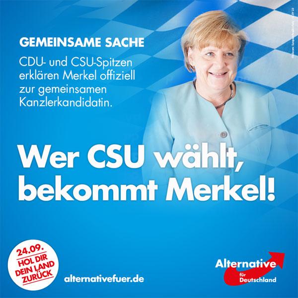 Bild zum Thema Jetzt ist es raus: wer CSU wählt, wählt Merkel Auf ihrer Friedensshow in München hat sich die Union der Angst von CSU und CDU auf die toxische Flüchtlingskanzlerin Merkel als gemeinsame Kanzlerkandidatin geeinigt. Seehofer, der Bayer ohne Eier, steht wieder mal als Verlierer dar und wird immer ein Verlierer bleiben. Die Kanzlerdarstellerin Merkel steht ganz oben auf dem Podest. Wer jetzt noch CSU wählt, weiß, dass er damit einverstanden ist, wenn Deutschland vollends gegen die Wand gefahren wird.