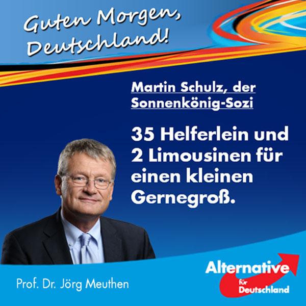 Bild zum Thema Der neue Heiland der SPD, Martin Schulz, geriert sich bei seinen linkspopulistischen Reden gerne als Anwalt des kleinen Mannes. Nicht, dass ihm das persönlich irgendwie wichtig wäre - er merkt einfach, dass ihm Bürger, die momentan noch ahnungslos sind, diese Schmierenkomödie abnehmen. Aber das wird nicht so bleiben: Es wird sich herumsprechen, für was dieser abgehalfterte EU-Apparatschik steht: Für noch mehr EU-Bürokratie und -Idiotie, für einen Haftungszugriff auf deutsche Vermögen - und für ausufernde Steuergeldverschwendung. Hierin war der Buchhändler aus Würselen nämlich unangefochtener Großmeister, nachdem er von seinen Sozialistenfreunden auf den Thron des EU-Parlamentspräsidenten gehievt wurde. So groß war seine Meisterschaft, dass es anderen Parlamentarieren im Jahr 2015 zu bunt wurde: Sie beklagten öffentlich dessen opulente Verschwendungssucht. In ihrem Bericht deckten sie auf, dass Schulz nicht nur eine Limousine, sondern gleich deren zwei für angemessen hielt - selbstverständlich mit zwei Chauffeuren, denn von alleine fahren diese Karossen ja (noch) nicht. Aber das war nur der kleinste Teil seiner aufgeblasenen Entourage. Seine 33 weiteren, zu nicht unerheblichen Teilen von deutschem Steuergeld bezahlten Helferlein beinhalteten unter anderem einen Pressesprecher, fünf (!) Pressereferenten und zwei Terminassistenten. Die absolute Krönung aber konnten aufmerksame Leser meiner Seite vor kurzem bereits im Video 'Schulz, der Sozi-Raffzahn' entdecken: Deutlich zu erkennen ist ein Saaldiener, der im schwarzen Frack seinem Sonnenkönig den Stuhl unter dessen Gesäß schieben muss, denn augenscheinlich war es unter seiner Würde, dies selbst zu tun. Und da man mit einem einzigen Saaldiener wahrlich nur notdürftig ausgestattet wäre, hat er sich gleich noch einen zweiten zugelegt - sicher ist sicher. Die deutsche Öffentlichkeit ist wahrlich Einiges gewöhnt in dieser Richtung, aber einen solchen unsozialdemokratischen Steuergeldvernichtungs-Experten such