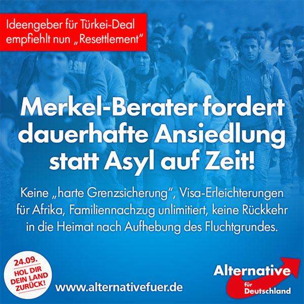 Bild zum Thema Die Europäische Stabilitätsinitiative (ESI) erarbeitete das Konzept, auf dessen Grundlage Angela Merkel den Asyl-Deal mit der Türkei einfädelte [1]. Nun macht die ESI einen neuen Vorschlag, ihr schwebt eine 'Resettlement'-Vereinbarung innerhalb der EU vor [2]. Diese sieht, nach Angaben des ESI-Vorsitzenden und Merkel-Beraters Gerald Knaus, die dauerhafte Ansiedlung von Asylbewerbern in Europa vor. Also auch dann, wenn es keinen Fluchtgrund mehr gibt, weil sich ein Konflikt beispielsweise beruhigt hat, finden keine Abschiebungen mehr statt.   Auch in anderen Bereichen will man die Gesetzgebung, die zumindest in Deutschland jetzt schon kaum eingehalten wird, weiter aufweichen. So sollen die Grenzen der EU nicht 'hart kontrolliert' und afrikanischen Migranten Visa-Erleichterungen verschafft werden. Australiens Asylpolitik lehnt Knaus ab und schließt sie als Vorlage für die EU aus.  Die unter anderem von George Soros finanzierte ESI gibt die Zahl der jährlich auf diese Weise anzusiedelnden Migranten mit 100.000 an, ohne den damit verbundenen Familiennachzug zu benennen, auf den die Neuankömmlinge jedoch ein gesetzliches Anrecht hätten.  Dass sich die Kanzlerin noch vor der Bundestagswahl zu diesem Papier äußert, ist zweifelhaft. Es steht jedoch zu befürchten, dass der von ESI erarbeitete Plan, ebenso wie der Türkei-Deal, als Blaupause für die zukünftige Asylpolitik der EU dient.  [1] Archivlink: Gerald Knaus und der Türkei-Deal http://www.zeit.de/2016/27/gerald-knaus-fluechtlinge-eu-tuerkei-abkommen  [2] Mitteilung der ESI: http://www.esiweb.org/index.php?lang=de&id=67&newsletter_ID=112