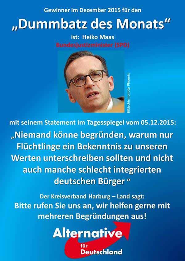 Heiko Maas – Männchen kann nicht verstehen, dass nur Moslems unsere Werte annehmen sollen. Das muss auch für schlecht integrierte Deutsche gelten. #Date:12.2015#